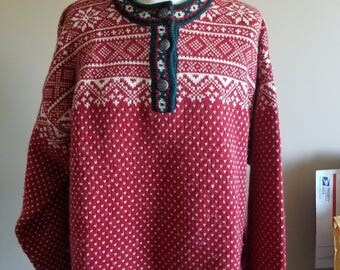 Vintage L.L. Bean Red Merino Wool Holiday Sweater