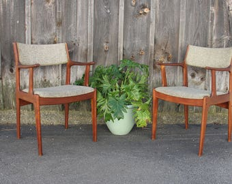 Danish Modern Teak Dyrlund Dining Chairs w/ Arms, Pair