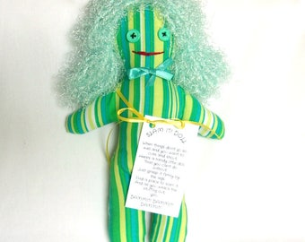 Stress Relief Doll Green Yellow Blue White Stripes