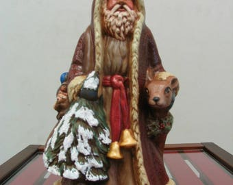Christmas Collectible Santa, Old World Woodland Santa, Hand painted, Antiqued Ceramic Father Christmas holding tree and deer