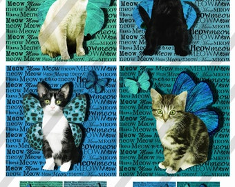 "Digital Collage Sheet, 4X4"", Cats and Kittens, Coasters with 1.5"" Charms, Square and Round, (Sheet no. FS298) Instant Download"
