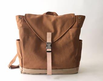 30% SALE  - Tan Brown canvas backpack , Leather strap laptop Satchel rucksack , travel backpack ,School unisex backpack // no.108 //