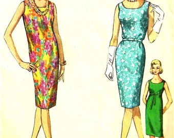 1960s Shift Pattern Jiffy Dress Simplicity Vintage Sewing Simple to Sew Sleeveless Women's Misses Size 12 Bust 32 Inches