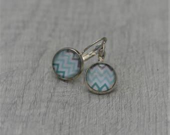 Geometric Earrings, Chevron Illustration Dangle Earrings, Geometric Jewelry