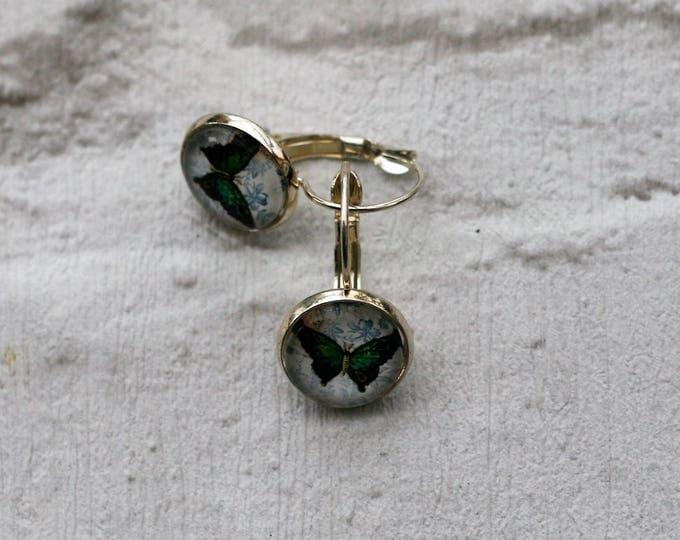 Green Butterfly Earrings, Illustration Jewelry, Dangle Earrings