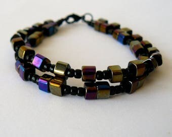 Iridescent Black Bracelet, Iris Finish Cube Bead Bracelet, Double Strand Bracelet, Two Strand Unique Jewelry