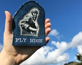 Amelia Earhart. FLY HIGH Handmade Embroidered Denim Patch