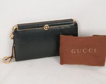GUCCI VINTAGE Green Leather CLUTCH Shoulder Bag Rare
