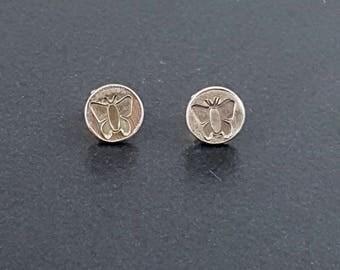 Small Butterfly Stud Earrings, post earrings, sterling silver, michele grady, insect earrings, butterfly jewelry, butterfly earrings