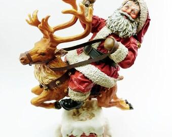 Poseable Santa Riding a Reindeer Vintage 1991 Clothtique 713058 Possible Dream Christmas Figurine Porcelain Base Original Box Holiday Decor