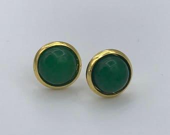 Green agate rose gold earrings