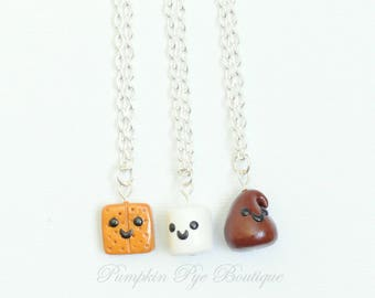 3 Best Friend Necklaces Smores Miniature Food Jewelry, smores charms, BFF Charm Necklaces, Best Friend Charms