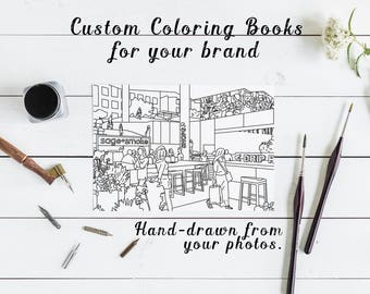 custom coloring book hand drawn from your photos personalized coloring book digital