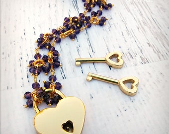 Cherished - Gemstone Amethyst Discrete BDSM Collar - Day Collar - Working Lock & Key - Amethyst 24k Gold - Locking Collar - OOAK