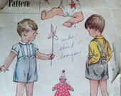 Sewing Pattern, Vintage 50's Simplicity 8292 Boy/Toddler Shirt and Sunsuit & Clown Transfer, Size 1, Spring Summer