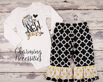 Baby Girl First New Years Eve Outfit, Toddler Girl NYE New Years Outfit for girls, My 1st New Years,My First New Years gray gold black