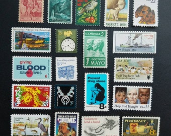 Twenty (20) vintage postage stamps from the 1960s-1990s - creepy, Hannibal-themed.