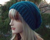 Dark Teal Crochet Hat, Womens Slouchy Beanie, Boho Slouchy Hat, Oversized Slouch Beanie, Chunky Hat, Winter Hat, Blue Slouch Hat