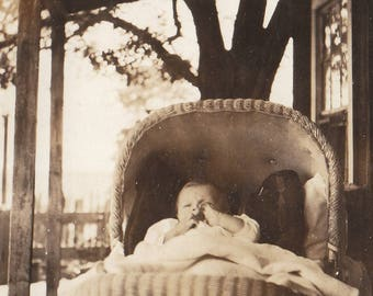 Original Vintage Photograph Snapshot Baby in Wicker Buggy on Porch 1910s-20s