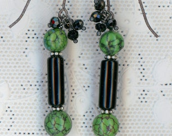 Green Spiderweb Turquoise an Obsidian