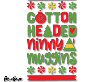Christmas Elf Hat Cotton Headed Ninny Muggins Swirly Gumdrops Ugly Sweater SVG, EPS, dxf, png, jpg digital cut file for Silhouette or Cricut