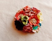 Chocolate red aqua cream blue berry green daisy mix roses vintage style hand crafted millinery flowers