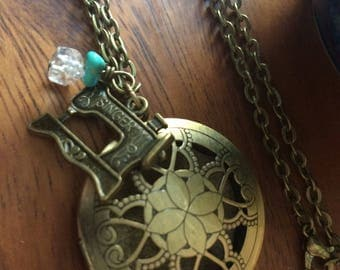 sewing machine quartz turquoise bronze locket style Filigree Diffuser Boho Necklace use with Young Living Essential Oils