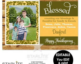 Thanksgiving Photo Card, Blessed Thanksgiving Photo Card EDITABLE INSTANT DOWNLOAD, Blessed Thanksgiving Photo Card, Rustic Printable