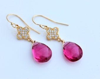 Pink Quartz Stone earrings, Gem Earrings, Tourmaline color earrings - gold earrings - October Birthstone, clip on option, Tourmaline jewelry