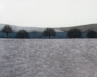 Intermission 9 - Archival 8x8 Art Print - Contemporary Minimalist Winter Landscape Painting - Grey, Blue - by Natasha Newton