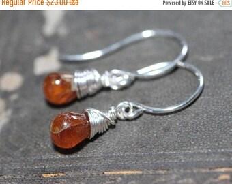 SALE Hessonite Garnet Earrings Sterling Silver Wire Wrapped Earrings Burnt Orange Earrings Rustic Jewelry
