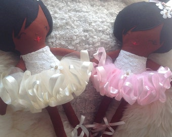 Lilly ballerina black rag soft fabric doll