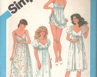 1980s Simplicity 6468 Misses Empire Waist Nightgown and Baby Doll Pajamas Pattern Womens Vintage Sewing Pattern Size 10 Bust 32 Or 16 UNCUT
