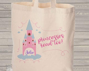 Princess library book personalized tote bag - choose value or heavyweight tote MBAG1-050