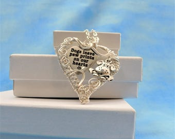 Animal Lover Jewelry Gift, Dog Pendant, Pet Necklace, Paw Prints Heart, Present Idea, Woven Wire Pendant, Artistic Wrap, Unique Accessories