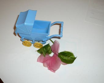 Miniature Blue Baby Carriage Plastic Ideal Baby Pram Dollhouse Collectible