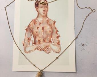 vintage golden chain necklace w vial copper goldleaf