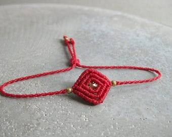 Red String Friendship Bracelet . Surfer Waterproof Bracelet . Small Macrame Jewelry . Design by .. raïz ..