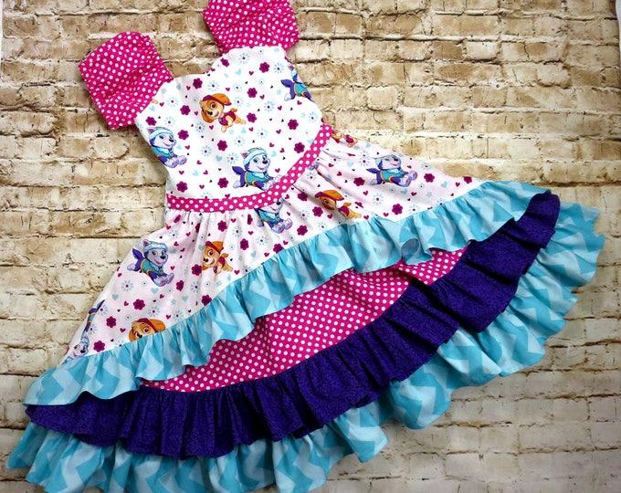 Paw Patrol Party - Birthday Outfit - Paw Patrol Birthday - Toddler Birthday - Baby Girl Dress - Girls Ruffle Dress - sizes 6 month to 10 yrs