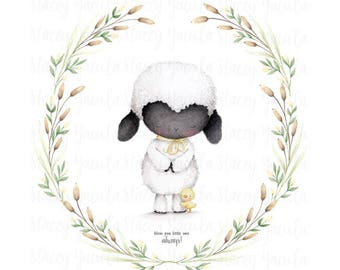 "art print - lamb - duckling - friends - floral wreath -  ""Cherished Blessings"""
