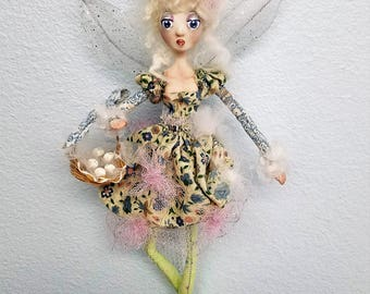 TOOTH FAIRY, mixup media art doll, handmade porcelain and soft sculpture, wall art, created in the USA