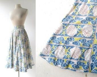 1950s Circle Skirt | At the Shore | Novelty Print Skirt | 50s Skirt | 23-24W XXS