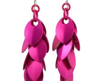 Raspberry Beret A Simple Petal Earrings