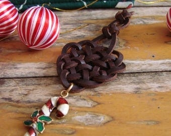 Celtic Knot Christmas Decoration with Enamel Candy Cane Pendant -- Tree Ornament, Spanish leather, Festive Sparkle, One of a Kind