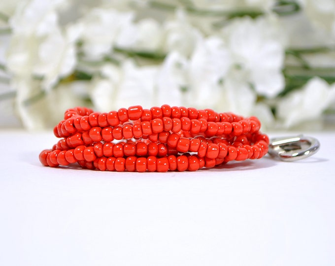 Red Lanyard 18 inch Magnetic Lanyard Beaded Lanyard Red Badge Holder ID Necklace