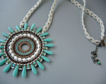Micro Macrame Mandala Necklace with Daggers - Micro Macrame Necklace -Macrame Jewelry  - Turquoise and Bronze