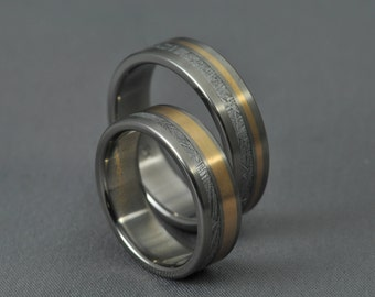 Meteorite Pair! Rose gold wedding ring set, engagement ring, Gibeon meteorite bands, Titanium wedding bands