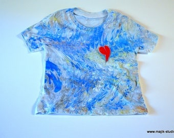 Childrens Clothing Wearable Art Kid Shirt Made In Asheville, NC MM#4-5BLUE