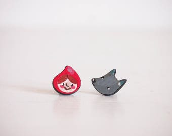 red riding hood earrings, fairy tale earring studs, wolf and kid earring, for who loves stories, tales, and children literature