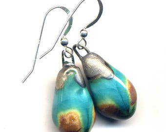 Hand made Porcelain Aqua and Earth Earrings, Sterling Silver Aqua Green Brown Black Bronze Ceramic Earrings 925 silver simple drop earrings